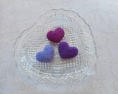 Mini, Needle Felted Hearts, Wool, Handmade, Set of 3, Purple, Lavender, Valentines Day