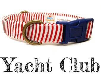 "Nautical Red White Blue Striped Dog Collar - Organic Cotton - Antique Brass Hardware - ""Yacht Club"""