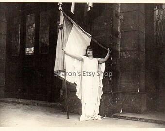 Vintage French Postcard- 1916 France Lady - Instant Digital Download