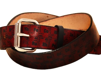 Periodic Table of Elements Leather Belt
