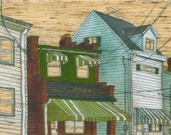 """Olive Awnings, 5x7"""" Print Mounted on Wood"""