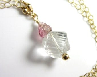 Spiral Cut Quartz and Carved Pink Tourmaline Necklace in 14k Gold Fill