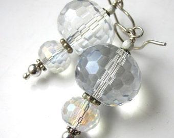 VDAY SALE Crystal Lantern Earrings - Mystic Quartz and Sterling