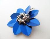 Cobalt Blue Scale Maille Flower Hair Clip