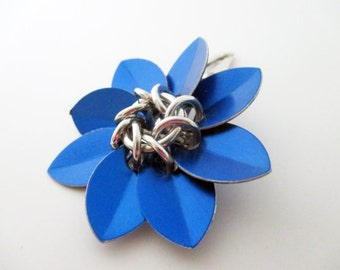 Cobalt Blue Scale Maille Flower Hair Clip