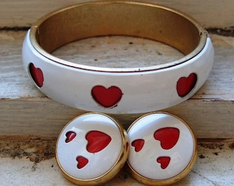 FREE SHIPPING Vintage White Metal Bangle Bracelet with Red Heart Cut Outs and Matching Clip Earrings