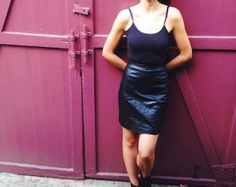 Vintage High Waisted Leather Mini Skirt
