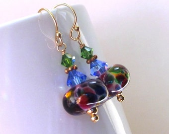Rainbow Lampwork Earrings, Art Glass Earrings, Colorful Earrings, Glass Bead Earrings, Swarovski Crystal Beaded Dangles, Ricki