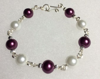 Maroon beads and pearls bracelet