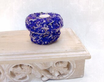Full Moon Silk Basket with Lid - Night Blue Keepsake Box with Mother of Pearl Button - Unique Celestial Tapestry Shelf Decor Gift STB053