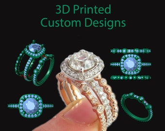 3D Printed Custom Designs, Your Own Custom Ring, CAD 3D Print Wedding Engagement Rings, 3D Printed, Gold Diamond Solitaire, Master, Rickson
