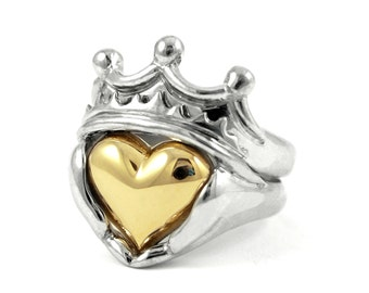 Two Tone Mens Claddagh Wedding and Engagement Ring Set - Handmade Gold silver Irish Jewelry, White Yellow Gold or Platinum, Stacking Ring