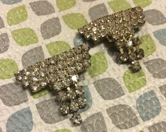 Stunning Rhinestone Dangle Cascade Silver Tone Vintage Shoe Clips Lot 56