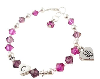 Pink and Purple Lil Sis Bracelet - Big Sister Bracelet - choose any colors