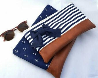 Handmade Large Navy and white striped zipper/clutch bow makeup bag/ purse bridesmaid gift grad gift/gifts under 25