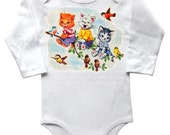 Baby One Piece, Kitties in Tree, Long Sleeved Bodysuit, Infant Shirt, Onesie, Vintage Kitty Cats, Cute Gift, layette