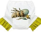 Toddler Training Pants, Kitties Training Potty Pants, Spring Panties, Ruffled Legs, Underwear, Vintage Graphic, Chartreuse Ruffles, 2T, 3T
