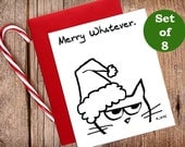 Angry Cat is a Christmas Grinch - Funny Christmas Cards for Cat Lovers - set of 8