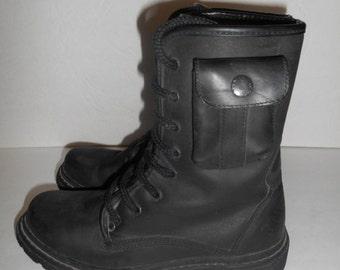 SALE SALE Vintage early 90's Black Leather Rare Unique  Lace Up    TRAVEL Fox   size 10 Us womens