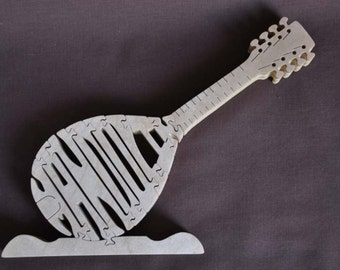 Mandolin Folk Music  Instrument Puzzle Wooden Toy Hand Cut with Scroll Saw