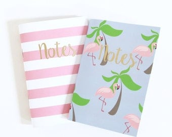 Palm & Flamingo Mini Notebook Set