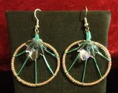 Spring colors! Pink and green drop weave earrings with crystal leaf accent