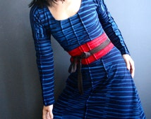 Everyone Says Hi - iheartfink Handmade Hand Printed Navy Blue Art Print Stripes Long Sleeves Jersey Dress
