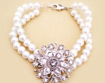 Bridal Rhinestone Bracelet, Pearl Bracelet Wedding, Bridal Bracelet, Pearl Bridal Bracelet, Wedding Rhinestone Bracelet, Brooch LARISSA