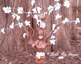 Cherry Blossoms Tree Art Doll Clay Sculpture Tee Art Doll One-of-a-kind Mixed Media Nature Theme Assemblage Art Aoll