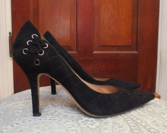 """Sexy Black Genuine Suede Leather Heels Corset Laced 3.5"""" Pumps 6 M"""