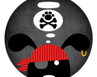 Luggage Tag - Pirate Dog and Crossbones - Round Plastic Bag Tag