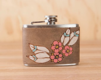 Leather Flask - Handmade Hip Flask in the Dakota pattern with Flowers in Pink - 4oz Size - Bridesmaid Flask - Wedding Flask