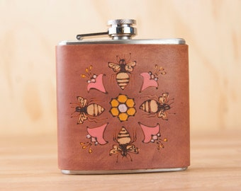 Leather Flask - Handmade Hip Flask in the Meadow pattern with Bees, Flowers and Honeycomb - 6oz Flask - Third Anniversary Gift