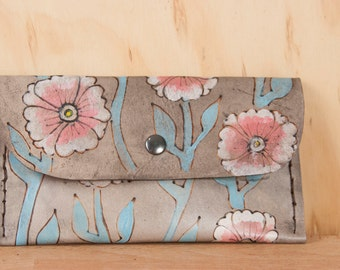 Leather Pouch - iPhone Case - Clutch - Flowers and Vines in the Aurora Pattern - pink, turquoise and antique black