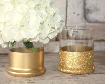 Gold vases, wedding decor, 6 gold dipped centerpiece vases, gold glitter vase, wedding table decor, gold metallic vase