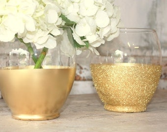 Gold vases, wedding decor, 12 bright gold dipped centerpiece vases or candle holders, glitter large vase, wedding table decor, wide mouth