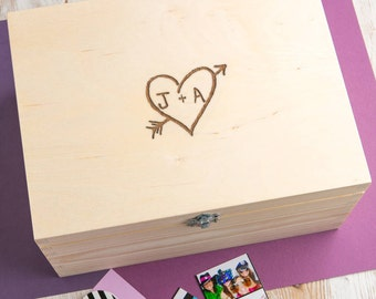 Personalised Couple's Carved Heart Memory Box