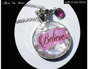 Believe,  glitter pendants,glitter, sparkle, bling, original art pendants, gift boxed,breast cancer pendants,think pink,believe