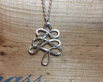 SALE! White metal plated tree necklace