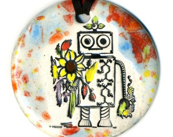 Lina the Robot Ceramic Necklace Multicolor Speckle