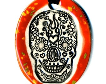 Day of the Dead Skull Ceramic Necklace in Speckled Red