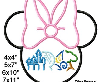 MlNNlE Mouse Head Parks Machine Embroidery Applique Pattern 4x4 5x7 6x10 7x11 INSTANT DOWNLOAD