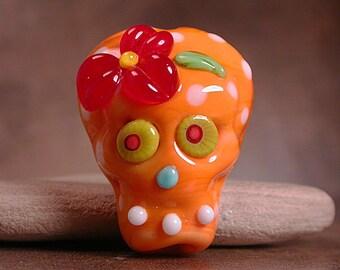 Sugar Skull Lampwork Focal Bead Day of the Dead Tropical Orange  Divine Spark Designs SRA