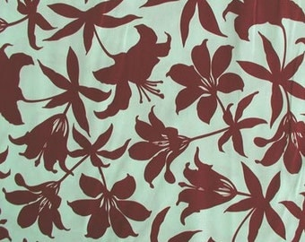 CLEARANCE 2.25 Yards Joel Dewbery Manzanita Lily in Aqua and Brown