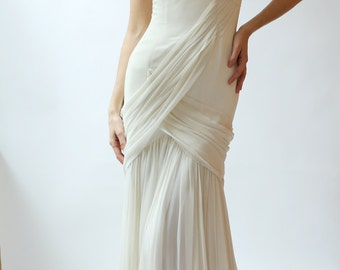 Sample Sale - Ivory silk chiffon gown sample - Camille