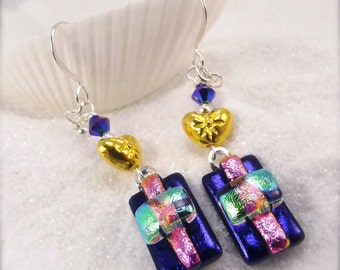 Jewelry, Dichroic glass earrings, modern design jewelry,Hana sakura,fused glass, purple earrings,glass fusion,dangle earrings,modern jewelry