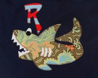 Personalized Canvas Shoulder Bag in color Navy with Shark,Kids Personalized Bag,Monogram Bag,College Bag,Beach Bag,Pool Bag,Shark Gift,Shark