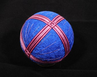 Temari Ball Ornament Bands of Rose on Blue Home Decor Wedding Gift