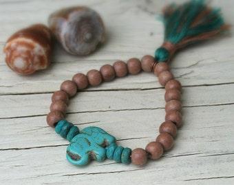 Tassle Bracelet, Stretch Bracelet, Stack Bracelet, Bohemian Bracelet, Elephant Bracelet, Wood Bracelet, Summer Bracelet, Stacking Bracelet