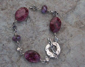 Ruby and Purple  Crazy Lace Agate Sterling Silver Bracelet